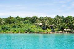 Palmen en bomen op de kust en het overzees royalty-vrije stock afbeeldingen