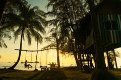 Palmen en overzees bij zonsondergang Stock Fotografie
