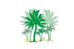 Palmen met element van het het concepten het vectorontwerp van het grasstrand voor Web en druk Royalty-vrije Stock Afbeelding