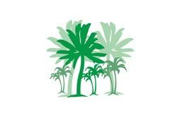 Palmen met element van het het concepten het vectorontwerp van het grasstrand voor Web en druk Royalty-vrije Stock Fotografie