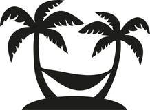 Palmen met hangmat vector illustratie