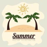 Palmen mit dem Meer und dem hölzernen Brett Stockbild