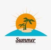 Palmen mit dem Meer und dem hölzernen Brett Lizenzfreie Stockfotos