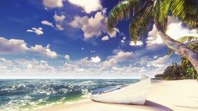 Palmen op een tropisch eiland met blauwe oceaan, oude boot en wit strand op een Zonnige dag Mooie de zomerscène 3d stock foto's