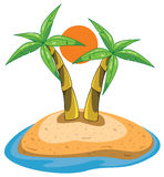 Palmen op eiland Royalty-vrije Stock Afbeelding