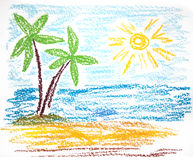 Palmen op leeg idyllisch tropisch zand royalty-vrije illustratie