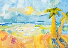 Palmen op oceaankust in zonnige dag Stock Foto