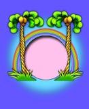 Palmen/regenboogframe stock illustratie