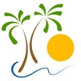 Palmen setzen Sun-Klipp-Kunst auf den Strand stock abbildung