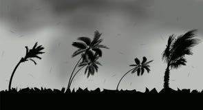 Palmen tijdens onweer en orkaan Bladerenvlieg over de hemel van een onweer Vector illustratie stock illustratie
