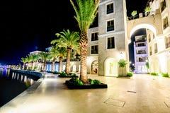 Palmen und die Gebäude in den Nachtlichtern in Marina Porto lizenzfreies stockbild