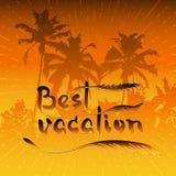Palmen und handgeschriebene Wörter beste Ferien stock abbildung