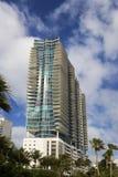 Palmen und hohe Anstieg-Gebäude auf Südstrand stockfoto