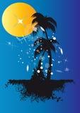 Palmen unter Sonne und Sternen Lizenzfreie Stockbilder