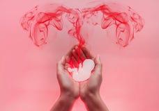 Palmen van de vrouw persten en houden embryo van document samen Rode lood komt uit de baby in de vorm van eileiders Roze stock foto