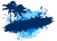 Palmen van het Grunge de blauwe strand Royalty-vrije Stock Foto's