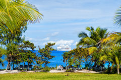 Palmen, wit cruiseschip in turkooise overzees bij strand Stock Foto's
