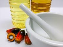 Palmenfrüchte und Palmöl, eine Frucht wird geschnitten, um seinen Kern zu zeigen Stockfotografie