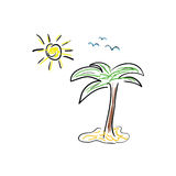 Palmenikonenkarikatur-Farbvektor Stockfotografie