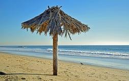 Palmenregenschirm auf Küstenlinie bei Thalia Street Beach im Laguna Beach, Kalifornien Lizenzfreie Stockbilder