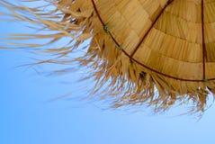 Palmensonnenschirm am Sommerstrand Stockbild