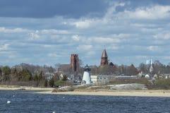 Palmer Island Light Station och Fairhaven horisont Royaltyfri Bild