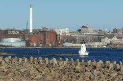 Palmer Island Light Station och nya Bedford Gas och Edison Light Royaltyfria Bilder