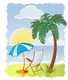 Palmera con el mar, el paraguas y la silla Imagenes de archivo