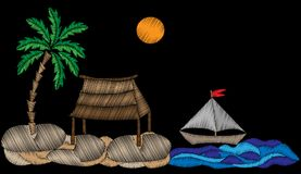 Palmera con el stit exótico del bordado de la casa, del barco, del agua y del sol libre illustration