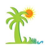 Palmera con vector del logotipo del sol Imagen de archivo