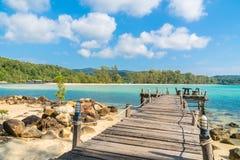 Palmera del coco en la playa y el mar Imagen de archivo libre de regalías