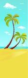 Palmera en la playa - bandera vertical ilustración del vector