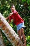 Palmera que sube del muchacho local en el pueblo de Lavena, isla de Taveuni, Fotografía de archivo