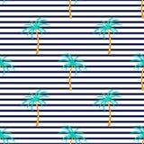 Palmera tropical Modelo inconsútil del verano rayado vertical Utilizado para las superficies de diseño, telas, materias textiles, ilustración del vector