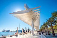Palmeral de las sorpresa promenade in seaport. Malaga, Andalusia. MALAGA, SPAIN - OCTOBER 30,2016: Palmeral de las Sorpresas promenade at port in Malaga Royalty Free Stock Images
