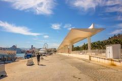 Palmeral de las Sorpresas promenade at port in Malaga. Andalusia, Spain. Stock Photo