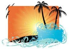 Palmeras con puesta del sol   ilustración del vector