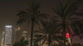 Palmeras de Doha Qatar con horizonte en el fondo almacen de metraje de vídeo