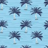 Palmeras de los azules marinos en el fondo del azul de cielo Vector inconsútil libre illustration