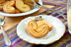 Palmeras - sweet puff pastry. Heart shaped cookies with sugar Royalty Free Stock Image