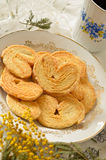 Palmeras - sweet puff pastry. Heart shaped cookies with sugar Stock Photos