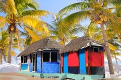 Palmeras tropicales coloridas de la cabina del palapa de la choza Fotos de archivo