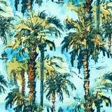 Palmeras tropicales del patternwith inconsútil Chapoteo de la acuarela con el ejemplo dibujado mano del bosquejo colorido retro Fotografía de archivo libre de regalías