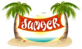 Palmeras tropicales del resto del verano, mar, playa Bandera del texto de las letras del verano Fotografía de archivo