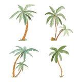 Palmeras tropicales dibujadas mano fijadas Foto de archivo libre de regalías