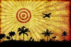 Palmeras y aeroplano contra puesta del sol ilustración del vector