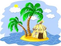 palmeras y choza del vector en una isla Imagen de archivo libre de regalías