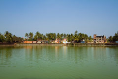Palmeras y chozas en la orilla del lago foto de archivo