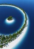 Palmeras y un paraíso de la isla Imagen de archivo libre de regalías