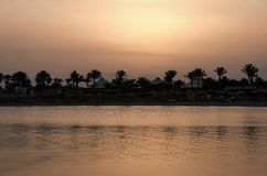 Palmeschattenbilder und Meerwasser auf Abendhimmel Stockfotos